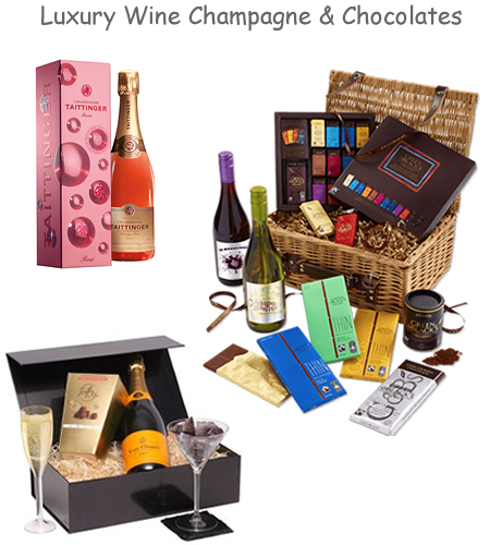 luxury wine champagne chocolate hampers