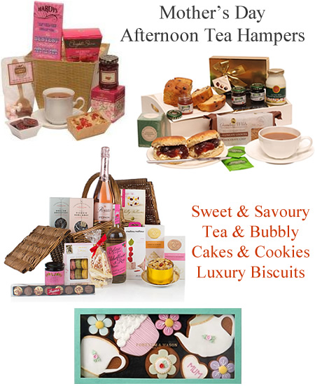 Mother's Day Cream Tea Hampers Luxury Biscuits Cake Cookies