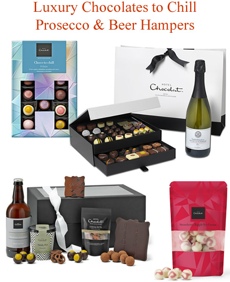 Luxury chocolates to chill prosecco beer hamper gifts