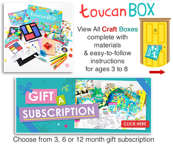 Letterbox craft box sets for kids activity boxes Toucan subscription gifts