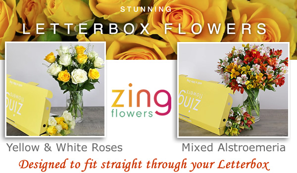 Letterbox flowers under £20, £30 letter box yellow and white roses delivered through the post box