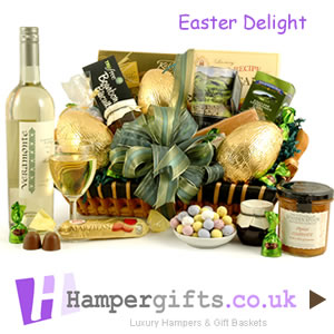 Luxury food white wine chocolate easter hamper baskets easter egg hamper gifts negle Images