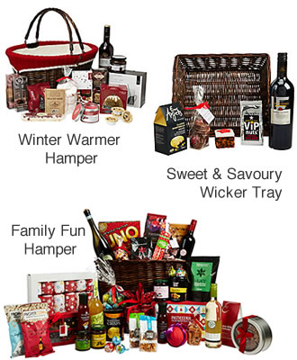 Filled Christmas Hamper Baskets and Trays